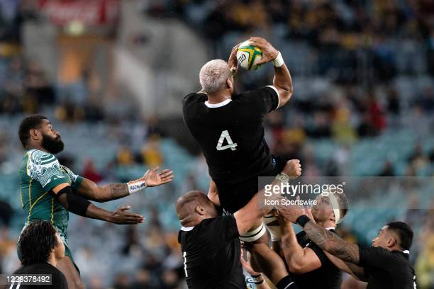 Patrick Tuipulotu of the All Blacks goes up for the ball during the Bledisloe Cup match between the Australian Wallabies and the New Zealand All...
