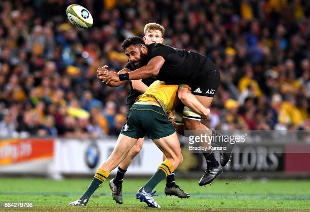 Patrick Tuipulotu of the All Blacks loses the ball as he is picked up in the tackle during the Bledisloe Cup match between the Australian Wallabies...