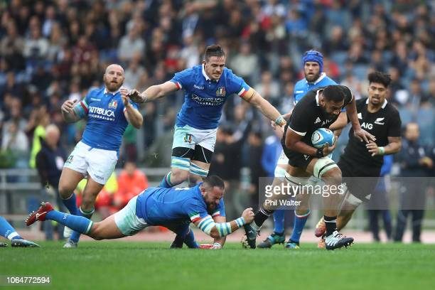 Patrick Tuipulotu of the All Blacks makes a break during the International Rugby match between the New Zealand All Blacks and Italy at Stadio...