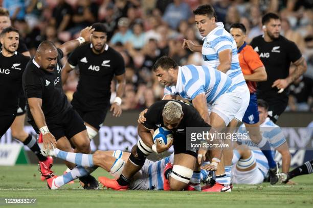 Patrick Tuipulotu of the All Blacks runs the ball during the Tri-Nations round 5 rugby match between the Argentina Pumas and the New Zealand All...