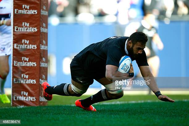 Patrick Tuipulotu of the All Blacks scores a try during the International Test Match between the United States of America and the New Zealand All...
