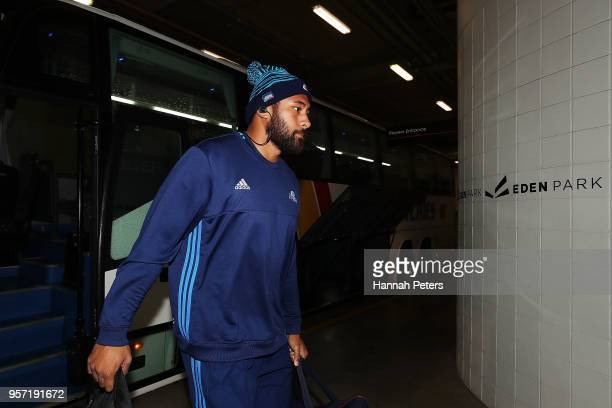 Patrick Tuipulotu of the Blues arrives ahead of the round 12 Super Rugby match between the Blues and the Hurricanes at Eden Park on May 11 2018 in...