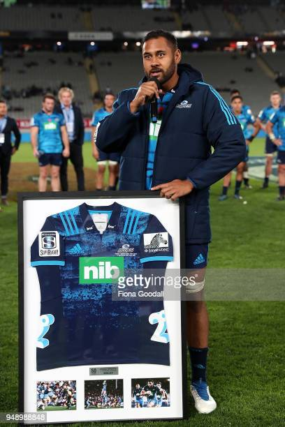 Patrick Tuipulotu of the Blues celebrates his 50th game with during the round 10 Super Rugby match between the Blues and the Highlanders at Eden Park...