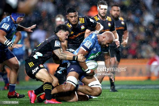 Patrick Tuipulotu of the Blues charges forward during the round 2 Super Rugby Aotearoa match between the Chiefs and the Blues at FMG Stadium Waikato...