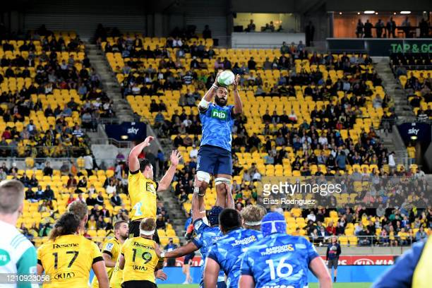 Patrick Tuipulotu of the Blues claims lineout ball during the round six Super Rugby match between the Hurricanes and the Blues at Westpac Stadium on...