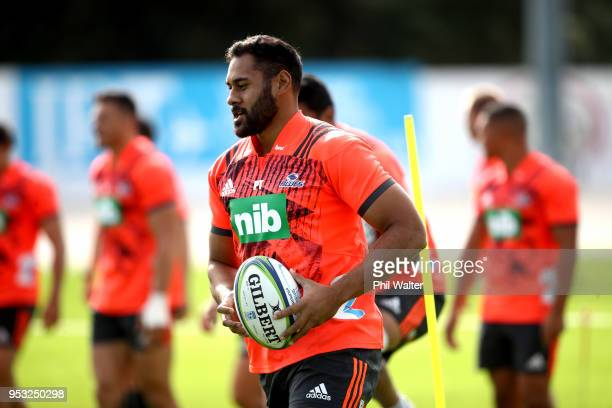 Patrick Tuipulotu of the Blues during a Blues Super Rugby training session at Alexandra Park on May 1 2018 in Auckland New Zealand