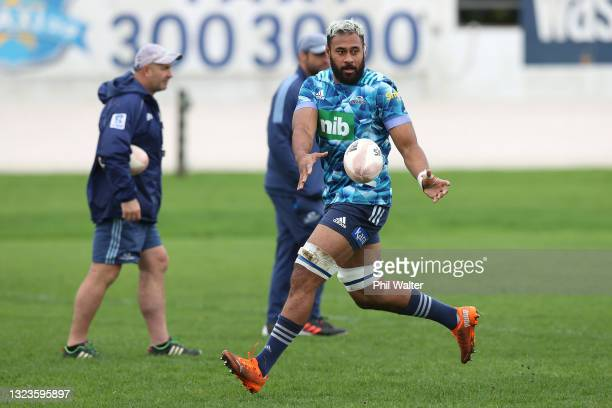 Patrick Tuipulotu of the Blues during a Blues Super Rugby Trans-Tasman training session at Blues HQ on June 15, 2021 in Auckland, New Zealand.