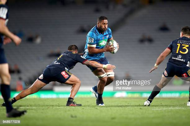 Patrick Tuipulotu of the Blues during the round 10 Super Rugby match between the Blues and the Highlanders at Eden Park on April 20 2018 in Auckland...