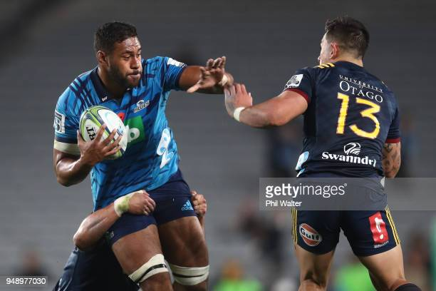 Patrick Tuipulotu of the Blues during the round 10 Super Rugby match between the Blues and the Highlanders at Eden Park on April 20, 2018 in...
