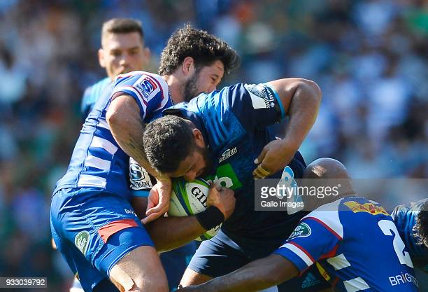Patrick Tuipulotu of the Blues in action during the Super Rugby match between DHL Stormers and Blues at DHL Newlands on March 17 2018 in Cape Town...