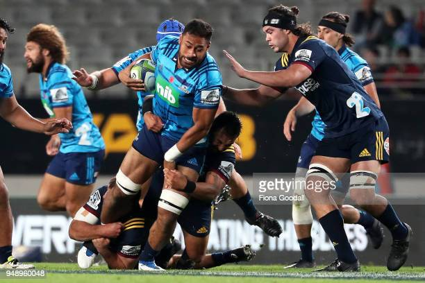 Patrick Tuipulotu of the Blues in the tackle during the round 10 Super Rugby match between the Blues and the Highlanders at Eden Park on April 20...