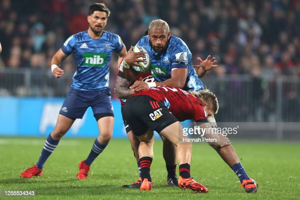 Patrick Tuipulotu of the Blues is tackled during the round 5 Super Rugby Aotearoa match between the Crusaders and the Blues at Orangetheory Stadium...
