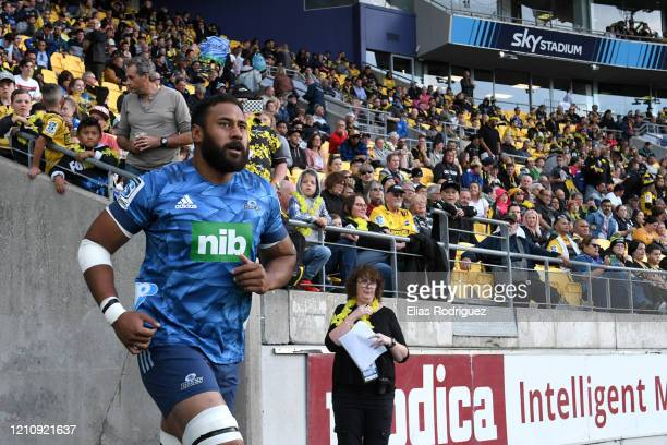 Patrick Tuipulotu of the Blues leads his team out during the round six Super Rugby match between the Hurricanes and the Blues at Westpac Stadium on...