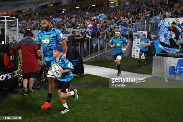 Patrick Tuipulotu of the Blues leads the team out during the round 8 Super Rugby match between the Blues and Waratahs at Eden Park on April 06, 2019...