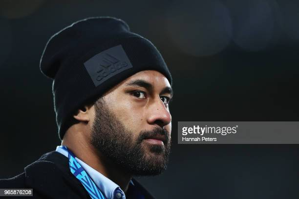 Patrick Tuipulotu of the Blues looks on during the round 16 Super Rugby match between the Blues and the Rebels at Eden Park on June 2 2018 in...