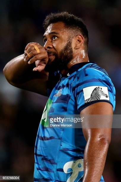 Patrick Tuipulotu of the Blues looks on during the round two Super Rugby match between the Highlanders and the Blues at Forsyth Barr Stadium on...