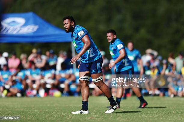 Patrick Tuipulotu of the Blues looks on during the Super Rugby trial match between the Blues and the Hurricanes at Mahurangi Rugby Club on February...