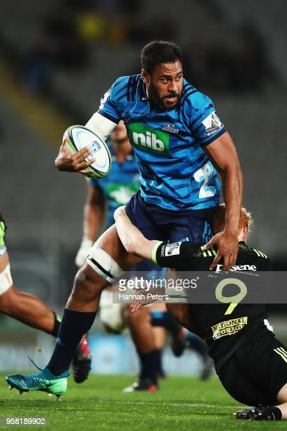 Patrick Tuipulotu of the Blues makes a break during the round 12 Super Rugby match between the Blues and the Hurricanes at Eden Park on May 11 2018...