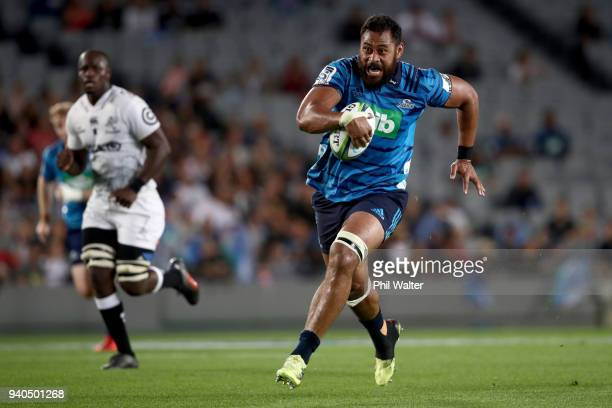 Patrick Tuipulotu of the Blues makes a break towards the tryline during the round sevens Super Rugby match between the Blues and the Sharks at Eden...