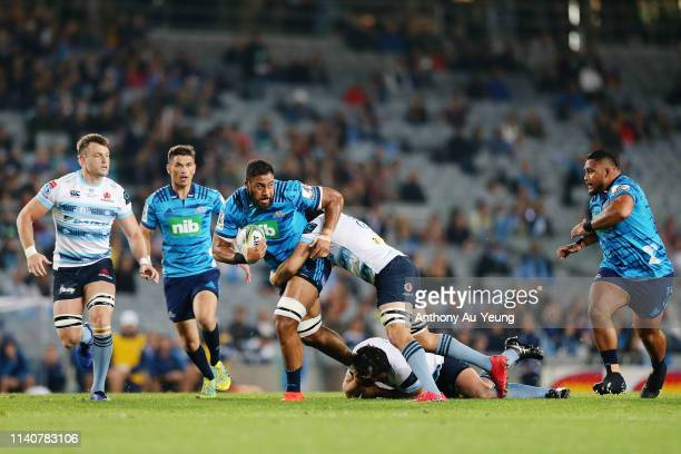 Patrick Tuipulotu of the Blues on the charge during the round 8 Super Rugby match between the Blues and Waratahs at Eden Park on April 06, 2019 in...