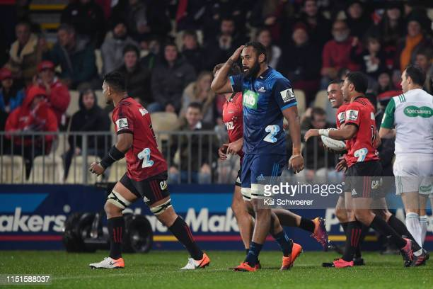 Patrick Tuipulotu of the Blues reacts during the round 15 Super Rugby match between the Crusaders and the Blues at Christchurch Stadium on May 25,...
