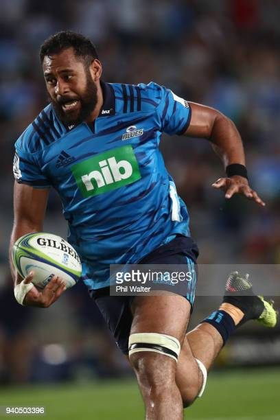 Patrick Tuipulotu of the Blues runs over to score a try during the round sevens Super Rugby match between the Blues and the Sharks at Eden park on...