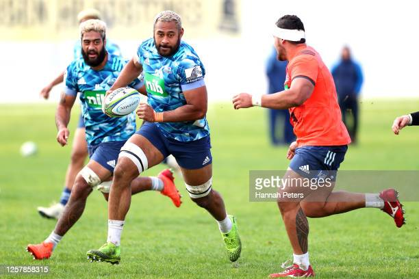 Patrick Tuipulotu of the Blues runs through drills during a Blues Super Rugby training session at Alexandra Park on July 24, 2020 in Auckland, New...