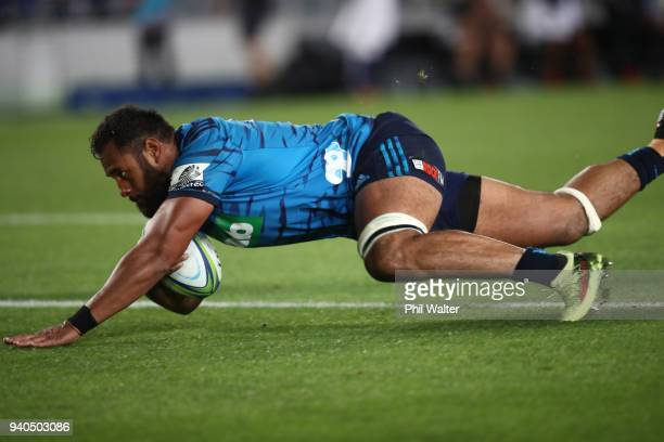 Patrick Tuipulotu of the Blues scores a try during the round sevens Super Rugby match between the Blues and the Sharks at Eden park on March 31 2018...