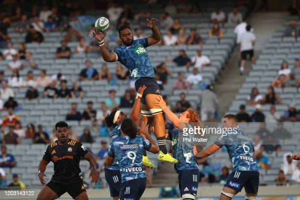 Patrick Tuipulotu of the Blues takes the ball in the lineout during the round one Super Rugby match between the Blues and the Chiefs at Eden Park on...