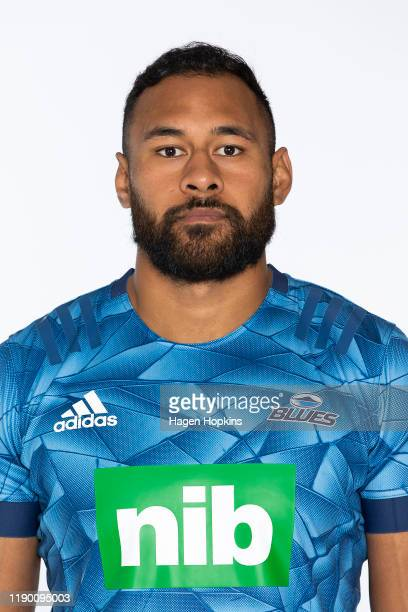 Patrick Tuipulotu poses during the Blues 2020 Super Rugby headshots session on November 25, 2019 in Auckland, New Zealand.