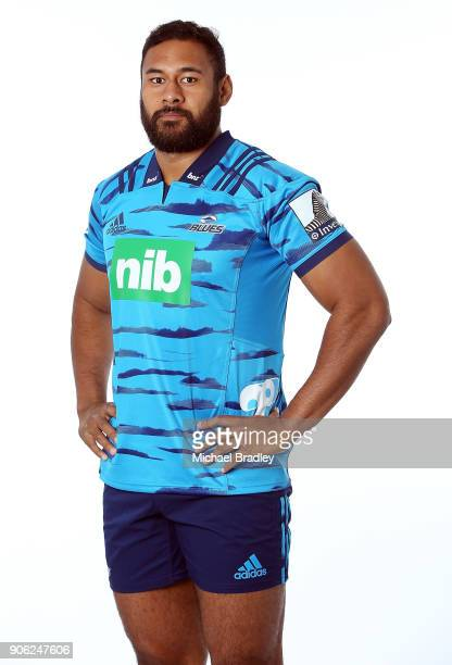 Patrick Tuipulotu poses during the Blues Super Rugby headshots session at Blues HQ on January 17 2018 in Auckland New Zealand