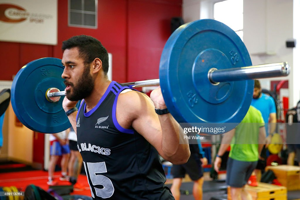 Patrick Tuitupolu of the All Blacks lifts weights during a New Zealand All Blacks Gym session at the Cardiff University Strength and Conditioning Centre on November 17, 2014 in Cardiff, Wales.