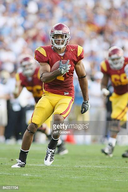 Patrick Turner of the USC Trojans runs after a catch against the UCLA Bruins on December 6, 2008 at the Rose Bowl in Pasadena, California. USC won...