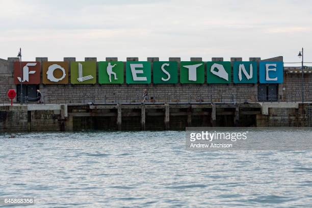 Patrick Tuttofuocos Folkestone letters sculpture displayed on Folkestone Harbour Arm originally as part of the Triennial Arts Festival in 2008 which...