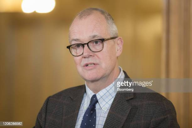 Patrick Vallance UK lead science adviser speaks during a news conference inside number 10 Downing Street in London UK on Monday March 9 2020 UK Prime...