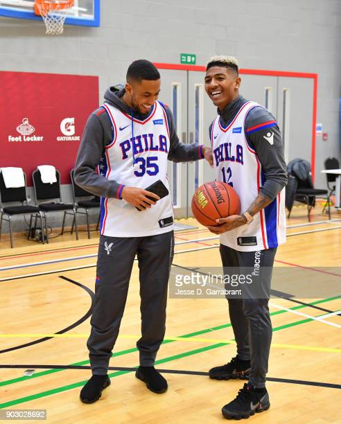 Patrick van Aanholt and Ruben LoftusCheek of Crystal Palace football team laughs during and NBA Cares Clinic as part of the 2018 NBA London Global...