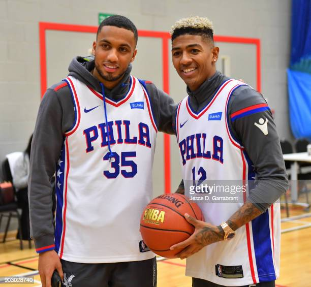 Patrick van Aanholt and Ruben LoftusCheek of Crystal Palace Football team poses for a photo during and NBA Cares Clinic as part of the 2018 NBA...