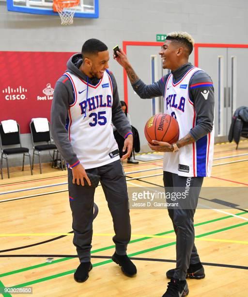 Patrick van Aanholt and Ruben LoftusCheek of Crystal Palace laughs during an NBA Cares Clinic as part of the 2018 NBA London Global Game at Citysport...
