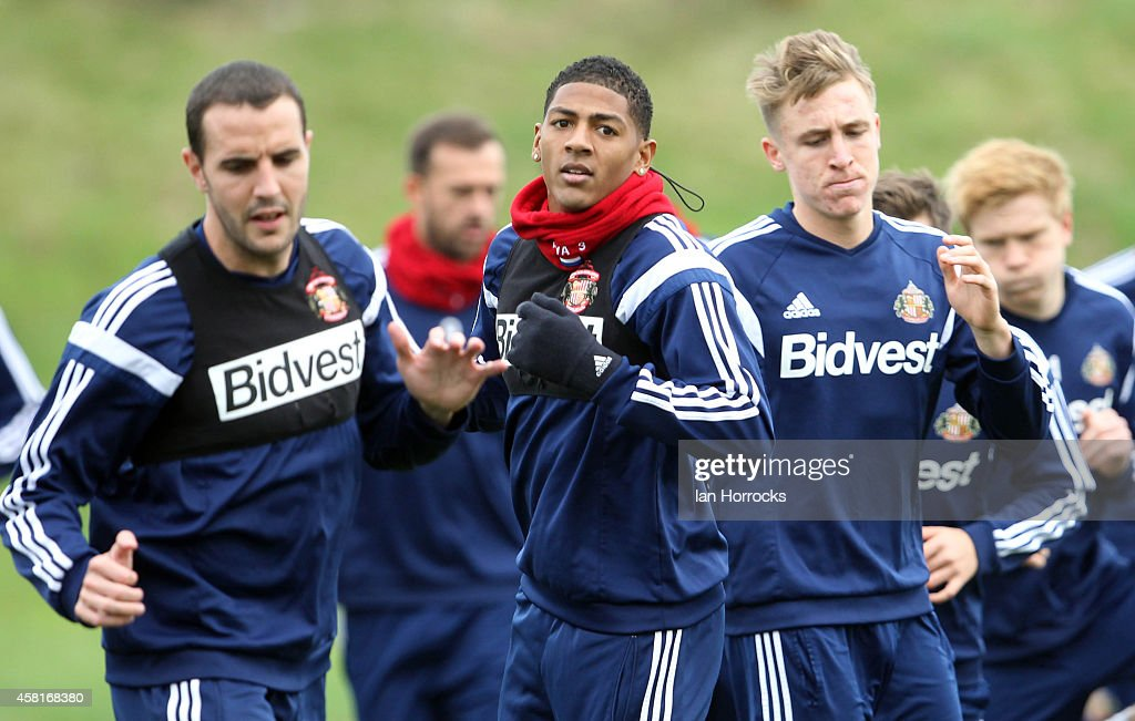 Patrick Van Aanholt (C) during a Sunderland AFC Training Session at The Academy of Light on October 31, 2014 in Sunderland, England.