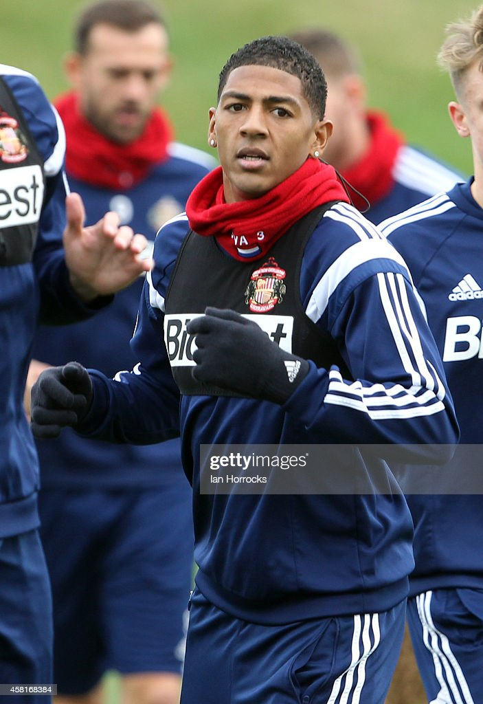 Patrick Van Aanholt during a Sunderland AFC Training Session at The Academy of Light on October 31, 2014 in Sunderland, England.