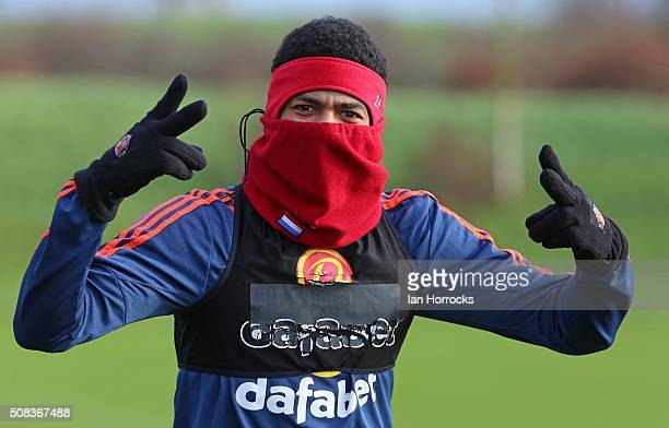 Patrick Van Aanholt during a Sunderland AFC training session at The Academy of Light on February 04, 2016 in Sunderland, England.