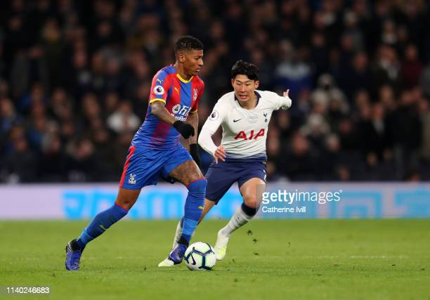 Patrick van Aanholt of Crystal Palace and Son Heungmin of Tottenham Hotspur during the Premier League match between Tottenham Hotspur and Crystal...