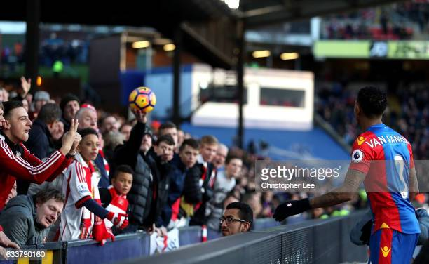 Patrick van Aanholt of Crystal Palace attempts to get the ball off the fans during the Premier League match between Crystal Palace and Sunderland at...