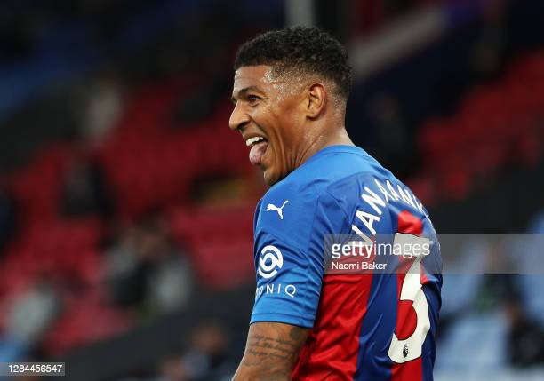 Patrick van Aanholt of Crystal Palace celebrates after his cross is deflected in by Helder Costa of Leeds United for an own goal to score the third...