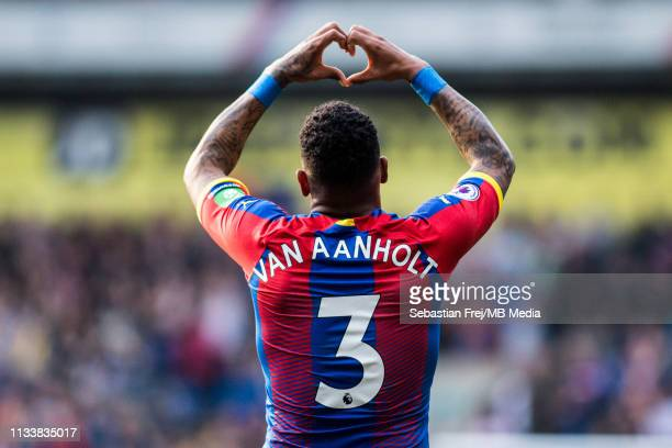 Patrick van Aanholt of Crystal Palace celebrates after scoring goal during the Premier League match between Crystal Palace and Huddersfield Town at...