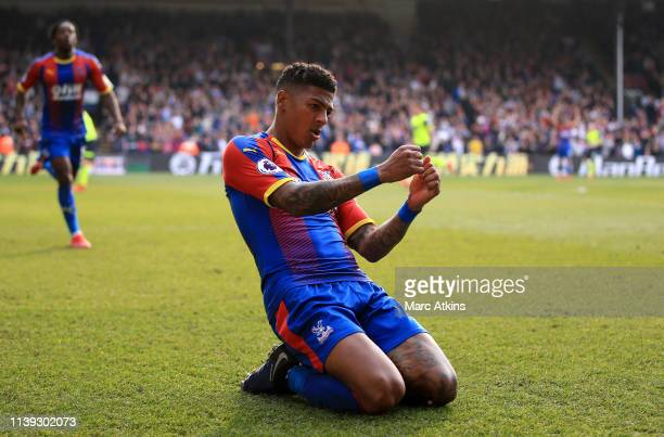 Patrick Van Aanholt of Crystal Palace celebrates after scoring his team's second goal during the Premier League match between Crystal Palace and...