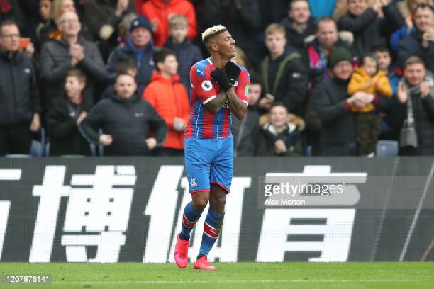 Patrick van Aanholt of Crystal Palace celebrates after scoring his sides first goal during the Premier League match between Crystal Palace and...