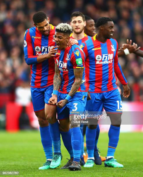 Patrick van Aanholt of Crystal Palace celebrates after scoring his sides fourth goal during the Premier League match between Crystal Palace and...