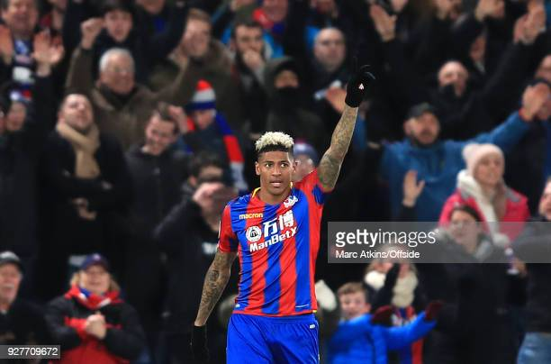 Patrick van Aanholt of Crystal Palace celebrates scoring their 2nd goal during the Premier League match between Crystal Palace and Manchester United...