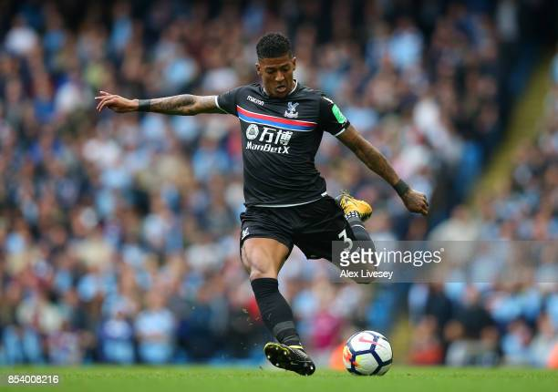 Patrick van Aanholt of Crystal Palace during the Premier League match between Manchester City and Crystal Palace at Etihad Stadium on September 23...